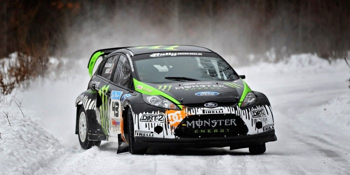 Rally racer Ken Block snow drift in northern Michigan