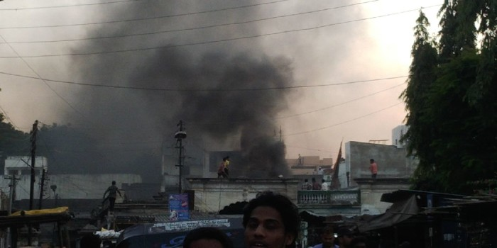 A small fire incident happen in oldcity Murgi-chowk