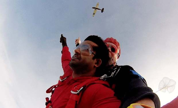 Simha in the skies, jumps from 13,000 feet