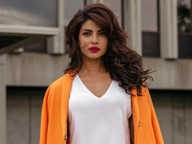 Priyanka Chopra outside a building that doubles as an FBI academy in Quantico, in Montreal.
