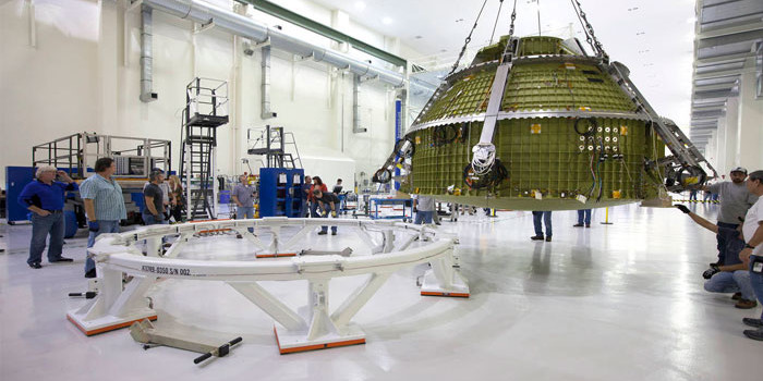 NASA's Orion for Exploration Mission-1 lifted for pressure testing