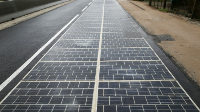 First road paved with solar panels powers French town